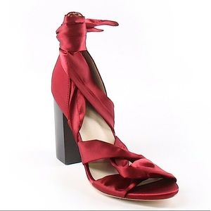 NWOT Raye red ankle tie heels size 6 1/2